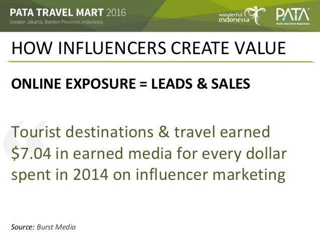 """"""" HOW INFLUENCERS CREATE VALUE ONLINE EXPOSURE = LEADS & SALES Tourist destinations & travel earned $7.04 in earned media ..."""