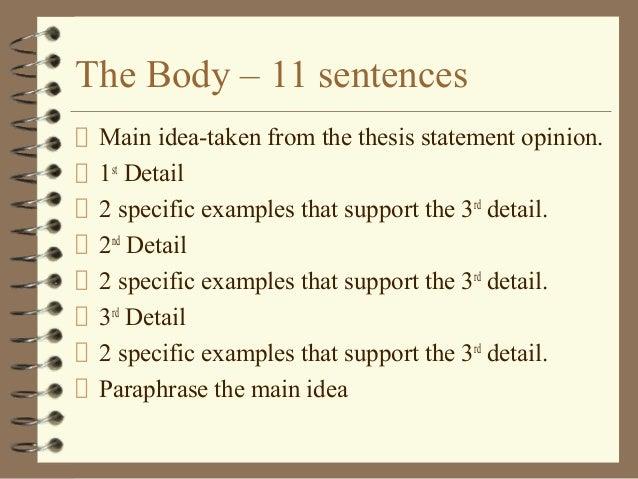 11 sentence body paragraph of essay