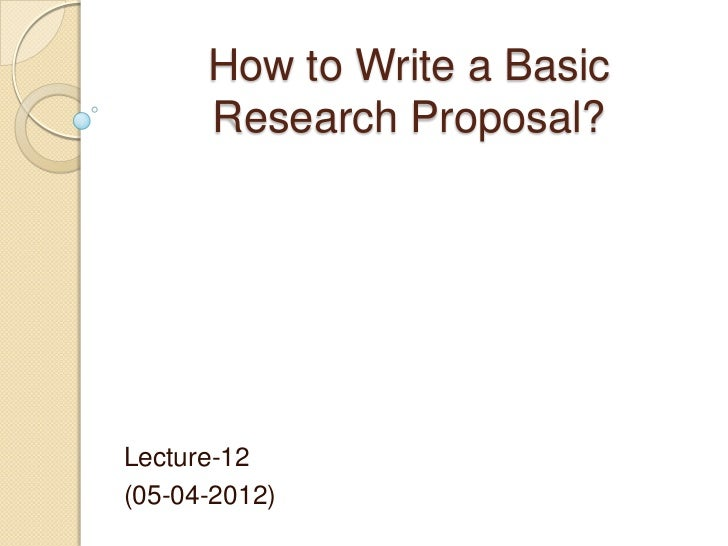 Writing a topic proposal