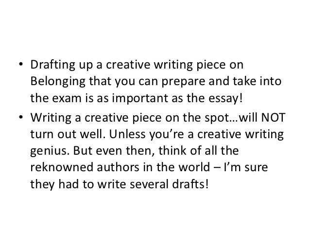 Creative writing help hsc examples belonging