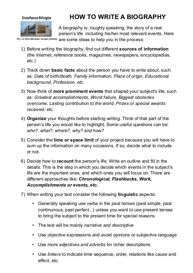 How to write a personal biography essay