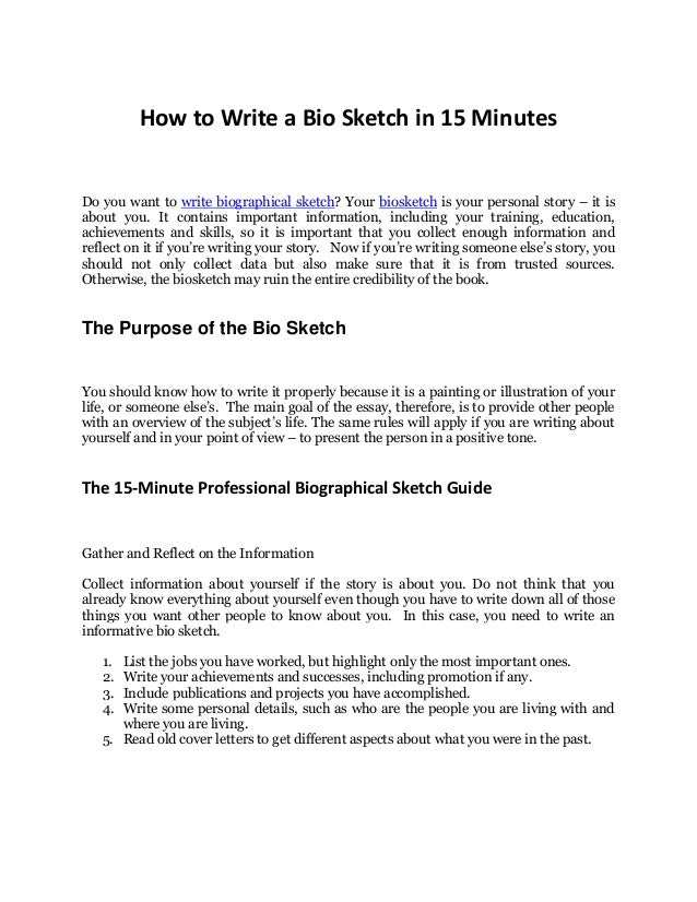 How to write a personal bio statement