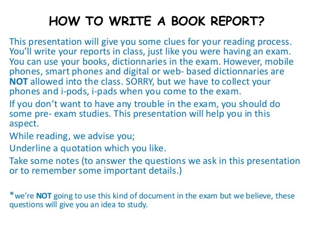 How to write a book report university
