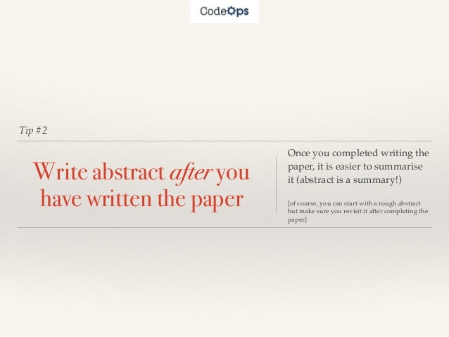 how to write good abstract for research paper