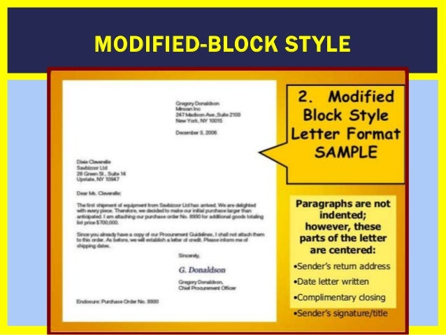 Modified Block Letter Format Rules. MODIFIED BLOCK ST YLE  How To Write a Business Formal Letter