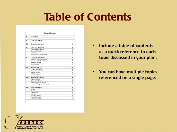 How to write a legal table of contents