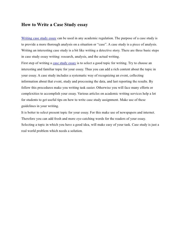 Case study 1 essay example