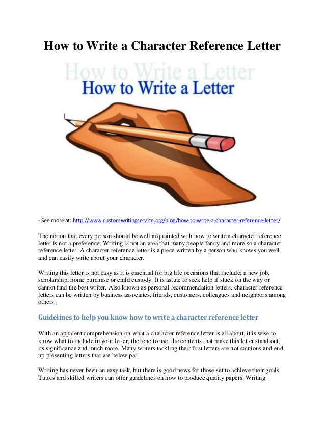How To Write A Character Reference Letter   See More At: Http:// ...