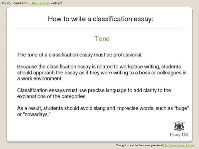 division-classification essay topics If you need to start a classification essay, you will definitely need to deal first with the classification essay topics when you choose carefully.