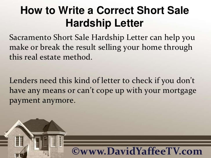 mortgage short sale hardship letter examples