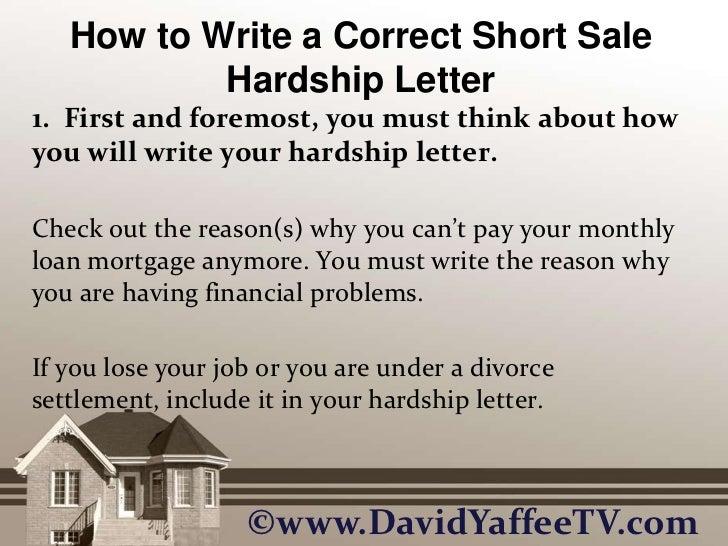 How to write a correct short sale hardship letter how to write a correct short sale hardship letterbr expocarfo