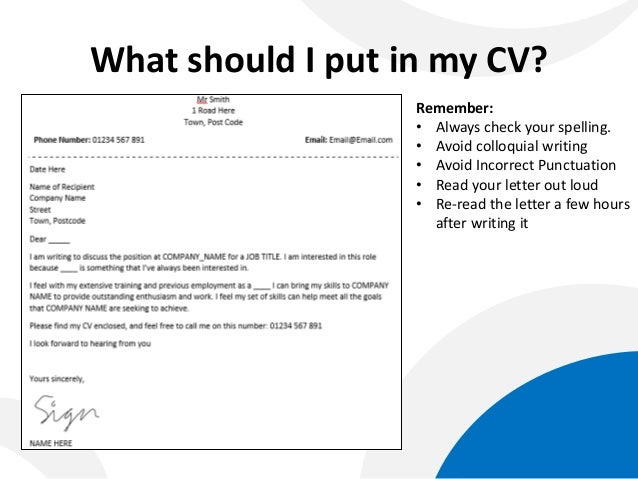 what should i put in my cv what to put on a cv cover letter
