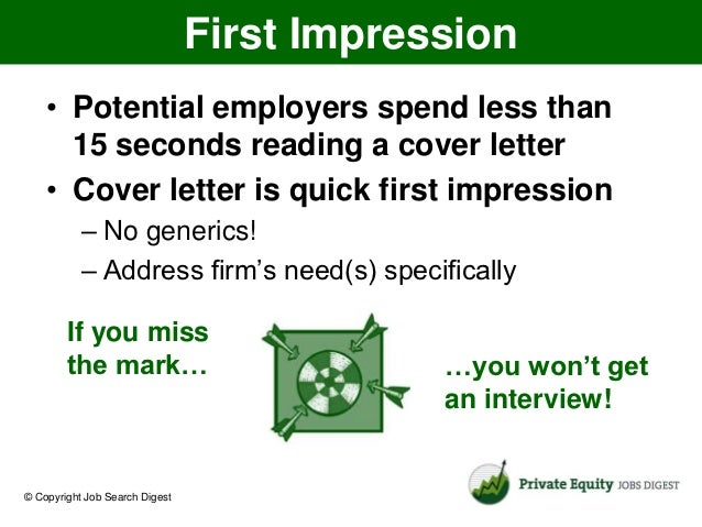 How To Write A Cover Letter For A Private Equity Job Search © Copyright Job  Search Digest; 2.