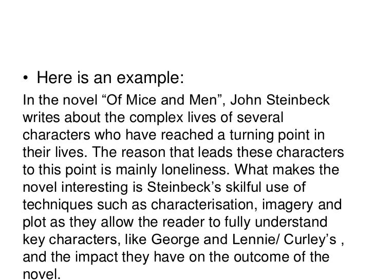 An outline of an essay on curleys wife in of mice and men by john steinbeck