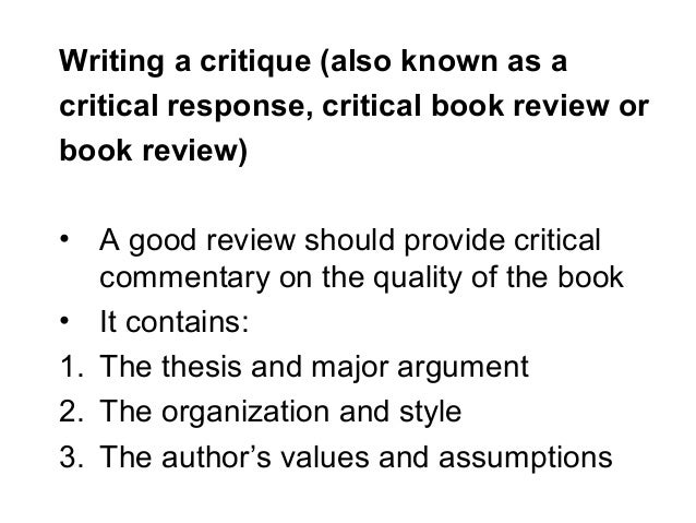 How to write critique paper