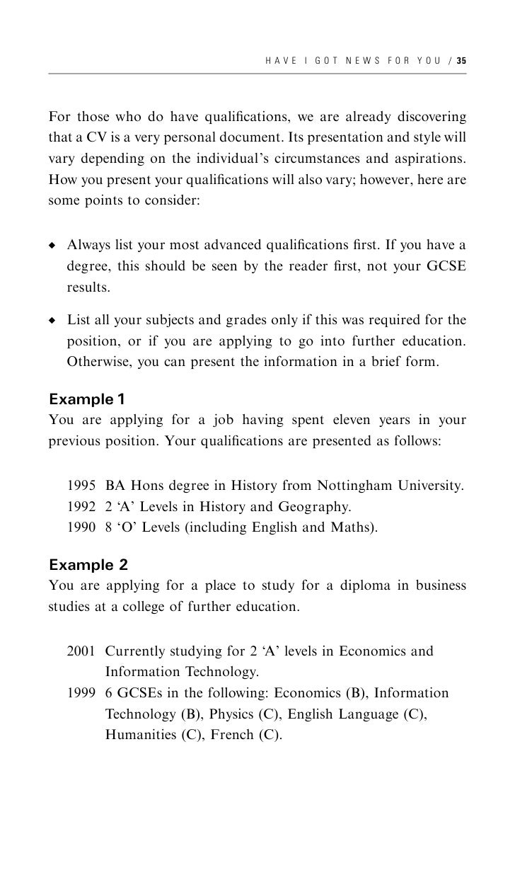 how to write a cv 46 h a v e i g o t n e w s f o r y o u 37 qualification