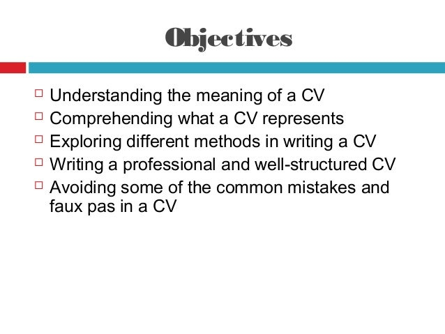 how to write a cv brief introduction