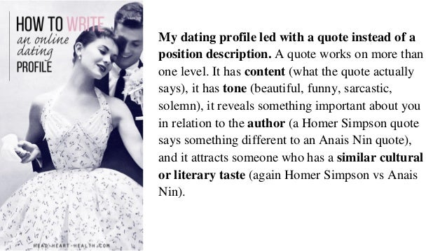 Tips for writing a good dating profile