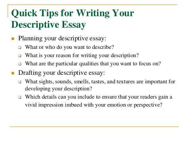 Steps on how to write descriptive essay