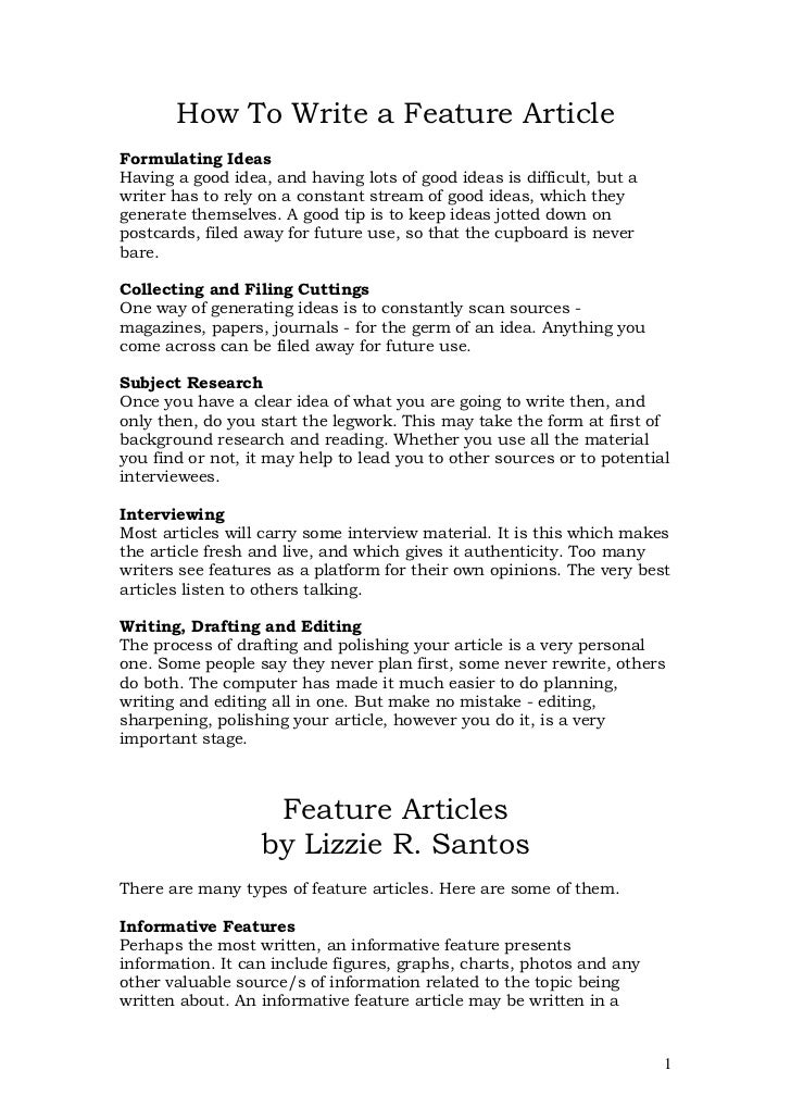 Change essay into feature article
