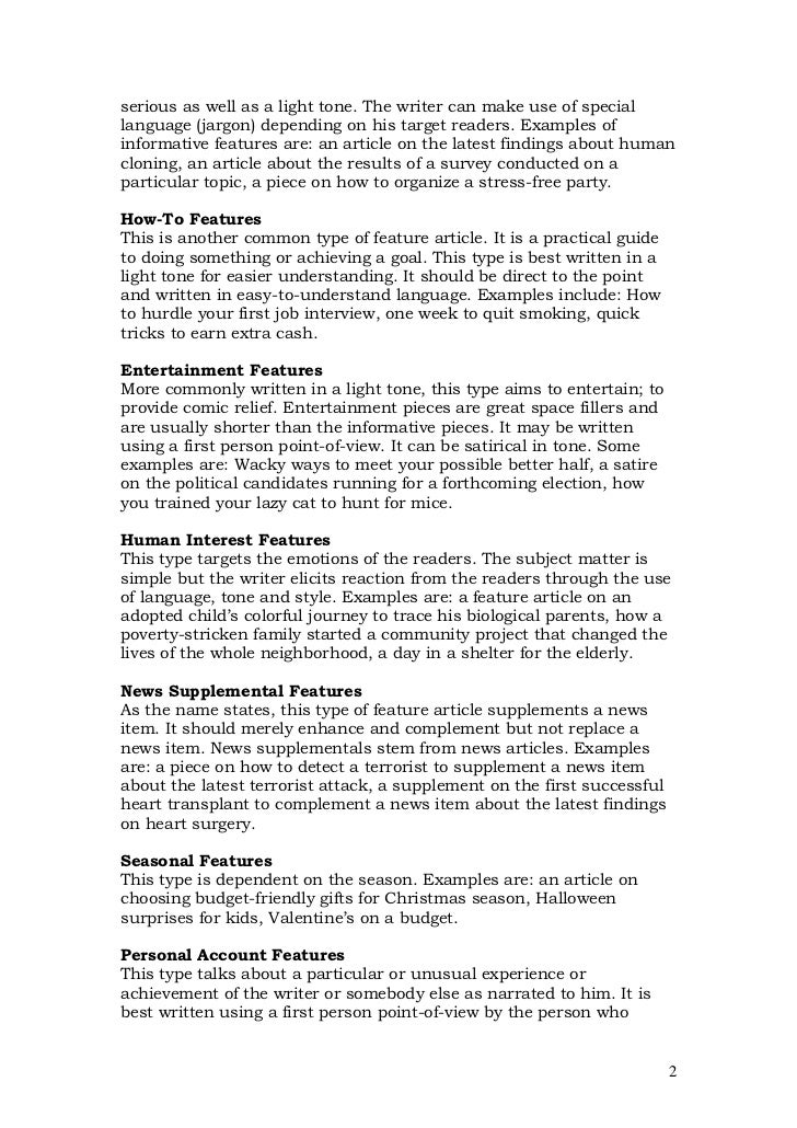 feature article format for students