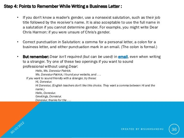 How to write a good business letter created by sukhsandhu 36 36 step 4 points to remember while writing a business letter ccuart Image collections