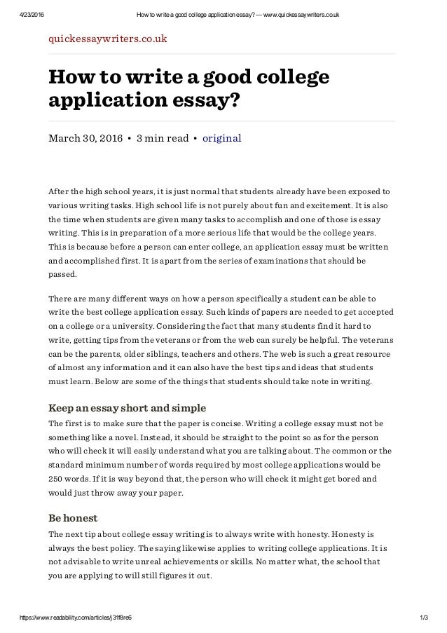Application essay examples for college