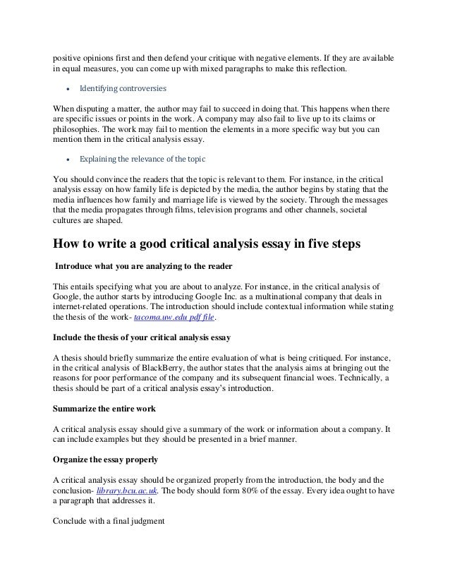 what is critical analysis essay