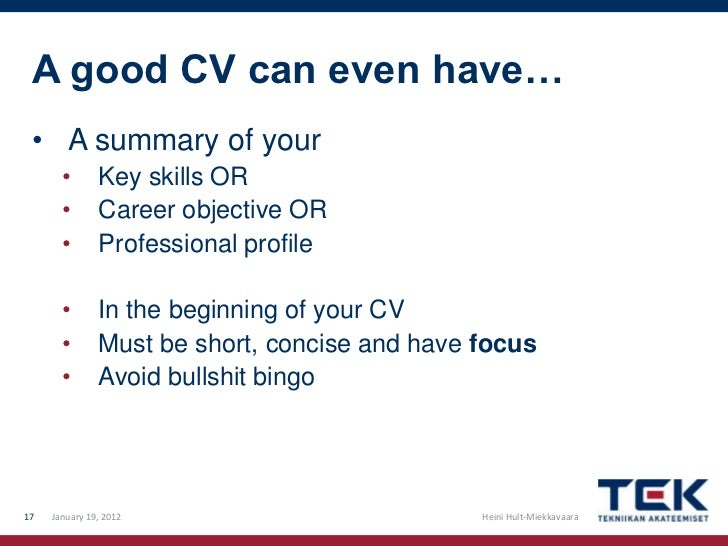 how to write a good profile for a cv
