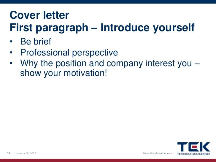 How to write a good CV and cover letter – Introducing Yourself in a Cover Letter