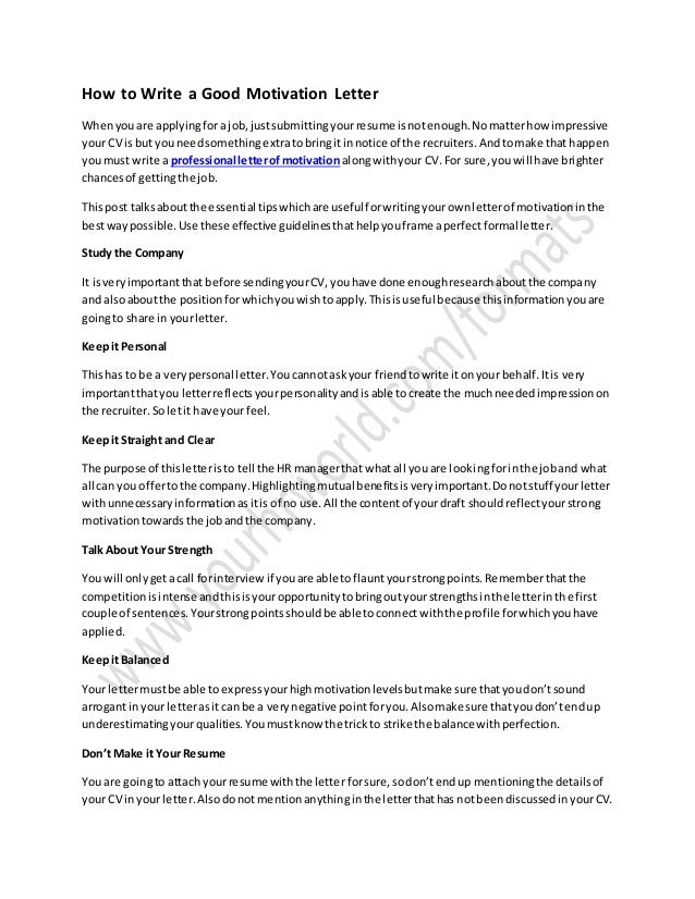 how to make a good cover letter for employment - how to write a good motivation letter