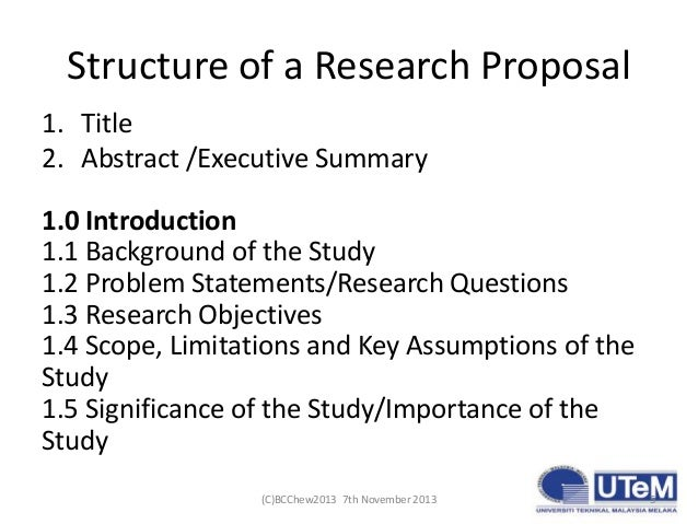 Parts of a dissertation proposal