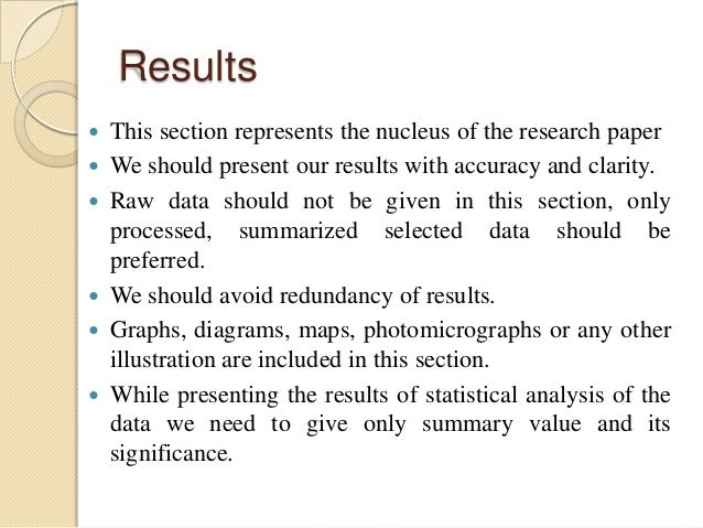 What is the results section of a research paper
