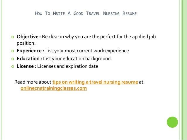how to write a good travel nursing resume