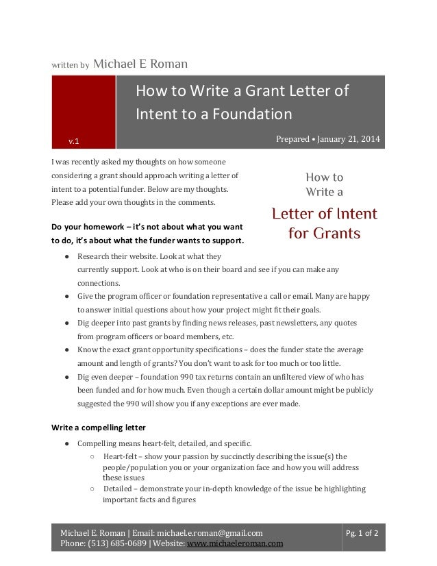 Written By Michael E Roman How To Write A Grant Letter Of Intent To A  Foundation ...