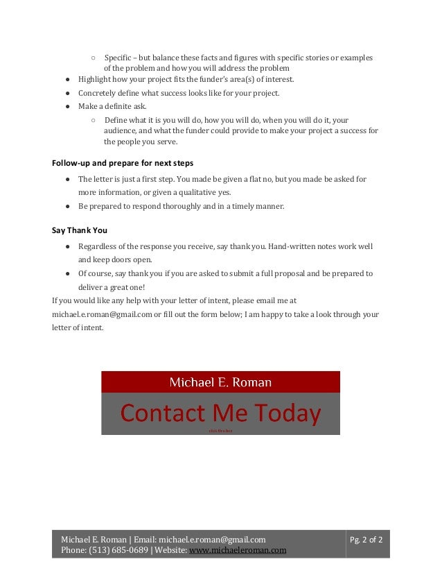 How to write a grant letter of intent to a foundation spiritdancerdesigns Gallery