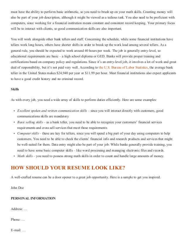 how to write a great bank teller resume with sle