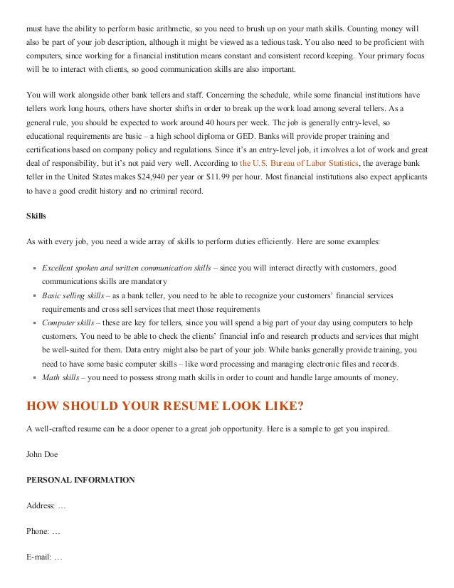 ... Bank Teller Resume (with Sample); 2.