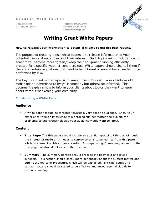 how to write a great white paper. Black Bedroom Furniture Sets. Home Design Ideas