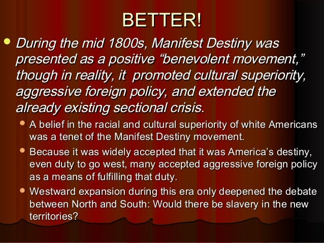 manifest destiny essay apush Free college essay 1994 dbq manifest destiny the united states of america, from even before the time of it's founding, had seen far past its borders this.