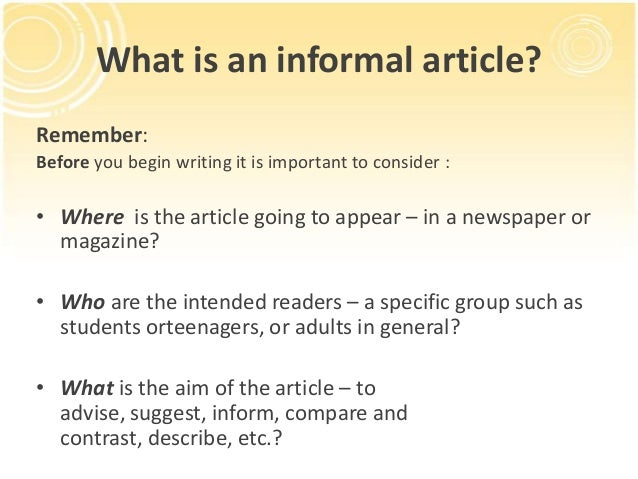 How to write an informal article