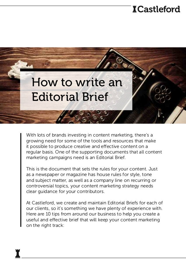 How To Write An Editorial Brief