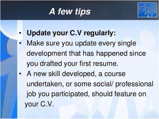 18 a few tips update your cv