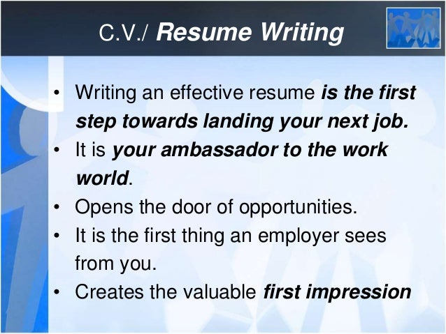 cv resume writing writing an effective