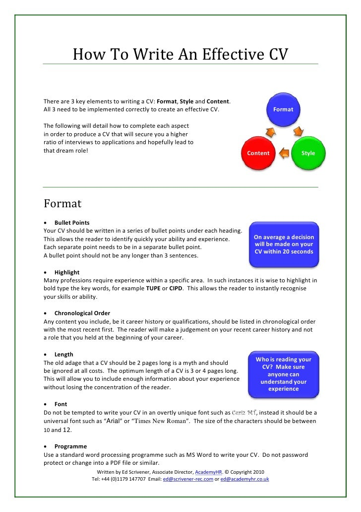 how to write an effective cv there are 3 key elements to writing a cv - Sample Effective Resume