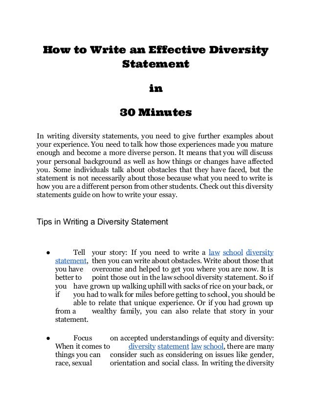 Writing a diversity statement