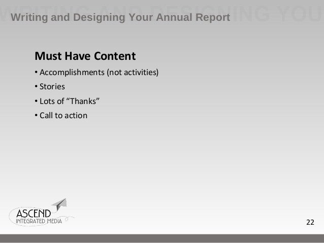 how to write a nonprofit annual report pdf