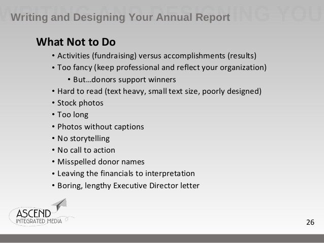 annual report writing