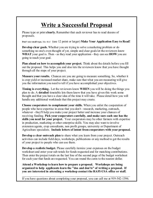 write a successful proposalplease type or print clearly remember that each reviewer has to read - How To Write A Proposal