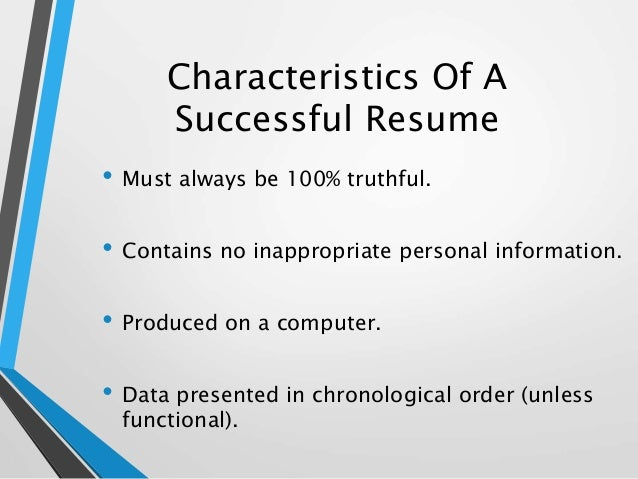 7 characteristics of a successful resume